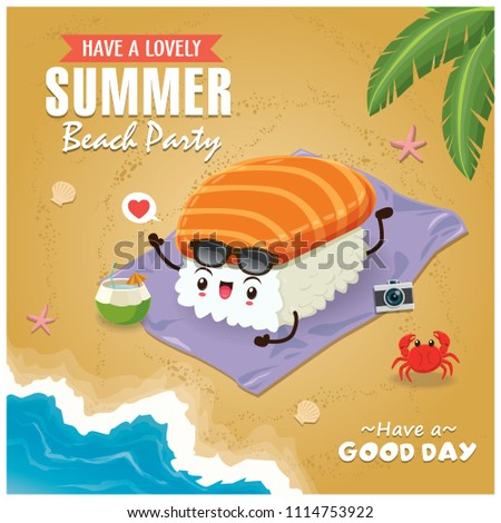 Vintage Summer poster with sake sushi character, palm tree.