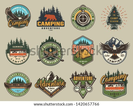 Vintage summer recreation logos, colorful prints with eagle, bear, navigational compass, travel trucks, tent, canoe, binoculars, forest and mountain landscapes isolated vector illustration