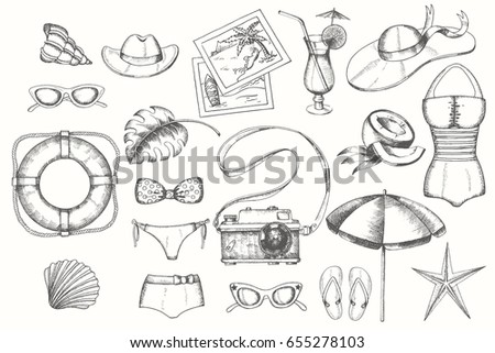 Vintage summer set of doodle hand drawn objects isolated on white. Sketch. Vintage summer symbols. Vacations, tourism.