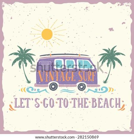 vintage summer surf print with
