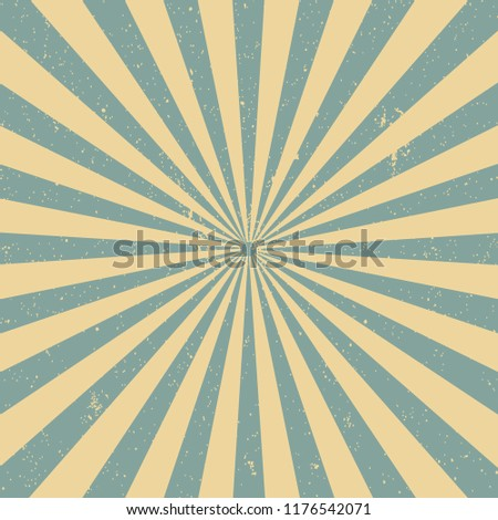 Vintage Sun Beams, Sun Rays Grunge Background Blue. Vector.