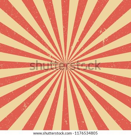 Vintage Sun Beams, Sun Rays Grunge Background Red. Vector.