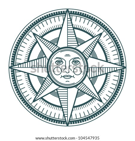 Vintage sun compass rose, vector illustration - stock vector