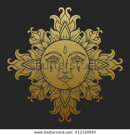 vintage sun with face. medieval ...