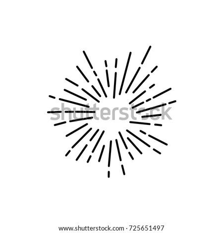 Vintage Sunburst Explosion Handdrawn Design Element Fireworks Black Rays
