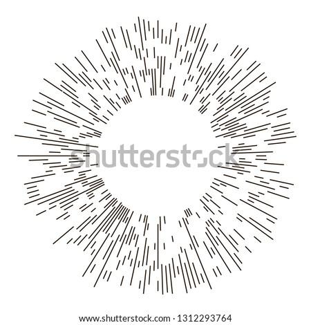Vintage sunburst explosion lines.Fireworks black rays design element. Linear drawing vector. Linear radial burst