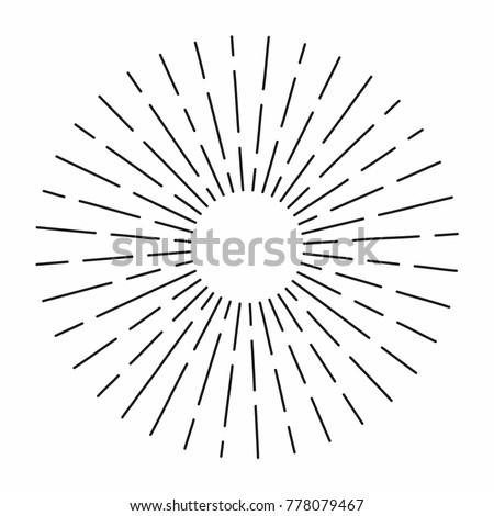 Vintage sunburst in lines shape, linear radial burst. Retro sun for hipster culture. Vector