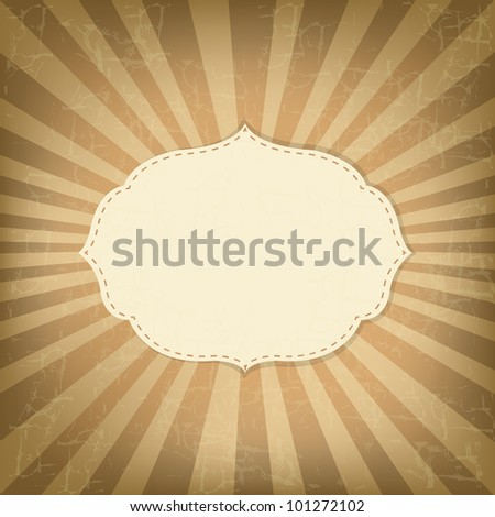 Vintage Sunburst With Label, Old Card, Vector Illustration