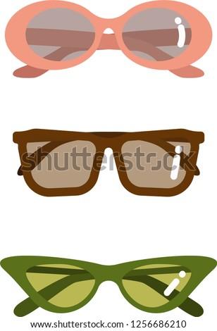 7441c5b7f24 Vintage sunglasses vector illustration. Flat styled retro green cat eye