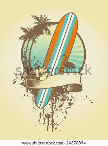 vintage surf emblem with classic longboard and floral elements
