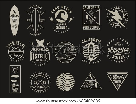 vintage surfing graphics and