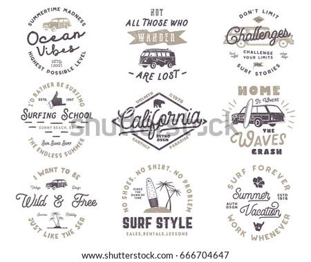 Vintage Surfing Graphics And Emblems Set For Web Design Or Print Surfer Logo Templates