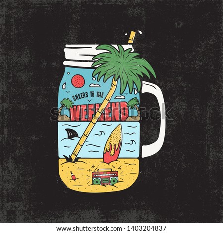 Vintage Surfing Graphics Print for web design or shirts, posters. Unusual beach surf scene landscape with retro tape recorder, palms, surfboard, sea and shark inside jar. Outdoor summer. Stock vector