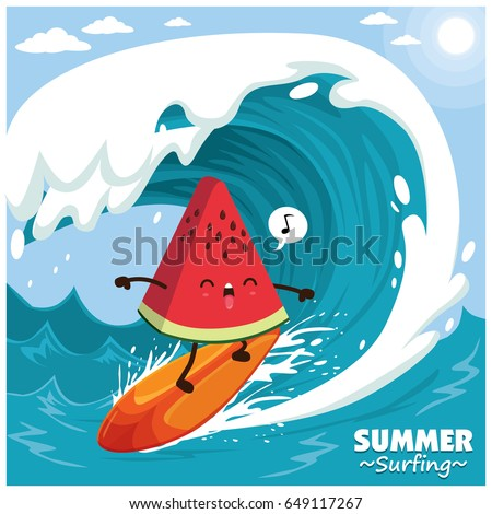 Vintage surfing poster design with vector watermelon surfer.