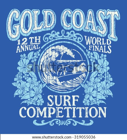 vintage surfing t shirt graphic ...