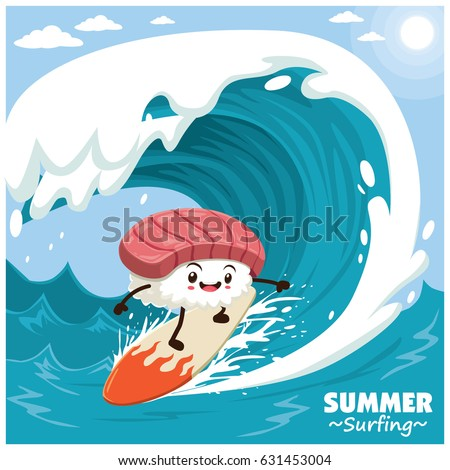 Vintage sushi poster design with vector sushi surfer.