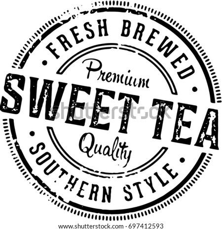 Vintage Sweet Tea Rubber Stamp Image