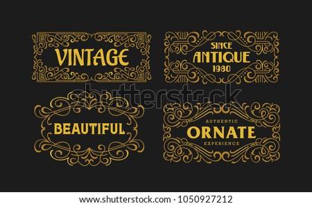 Vintage Swirl Antique Ornament Minimalism Casual Line Art Ornament Frame Classic Decorative Graphic Element