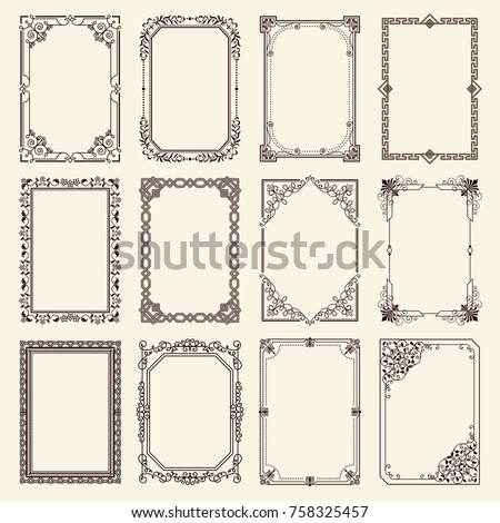 Vintage swirly black and white elegant frames set isolated cartoon flat vector illustrations on white background. Ancient frameworks for photo.