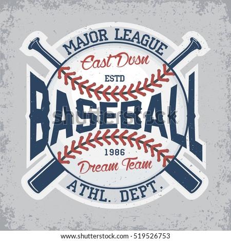 Vintage t-shirt graphic design,  grange print stamp, baseball typography emblem, Creative sports logo, Vector