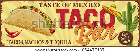 Vintage Tacos Bar metal sign.