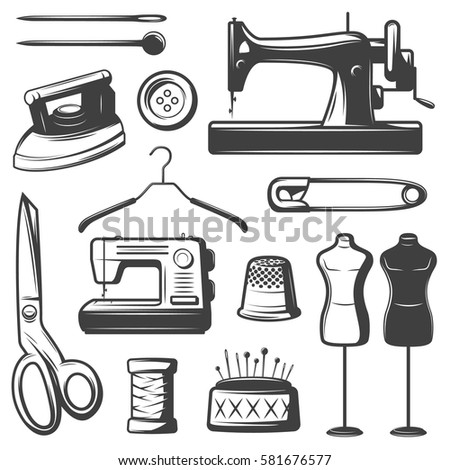 Vintage tailor elements set with professional equipment tools accessories and objects isolated vector illustration
