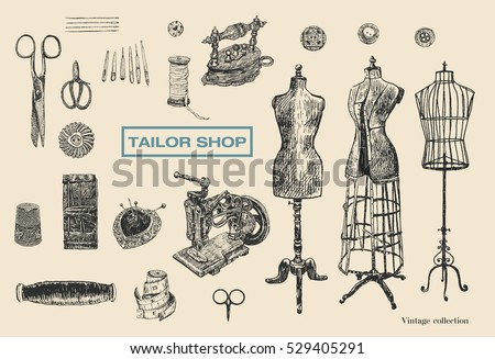 Vintage tailor shop. Tailor shears, needle, thread, spool of thread, Sewing Machine, thimble, charcoal iron, sartorial meter, buttons, pin-cushion, tambour. Hand drawn sewing tools. Female mannequins