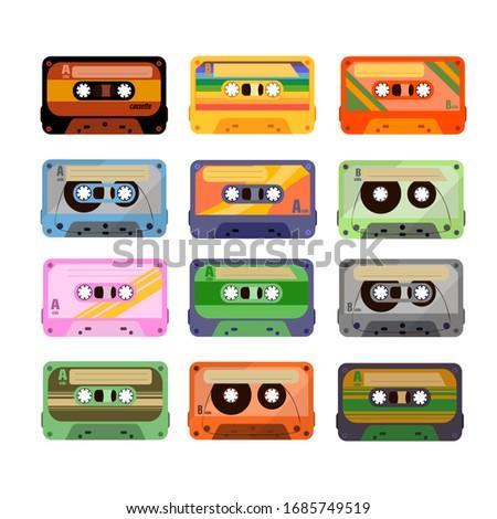 Vintage tape cassette. Retro mixtape, 1980s pop songs tapes and stereo music cassettes. 90s hifi disco dance audiocassette.