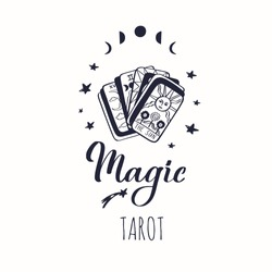 Vintage Tarot deck vector illustration.  Hand drawn style.  Occult symol of sun and moon phases. Magic and Witchcraft cover, background