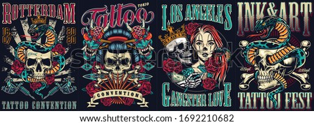Vintage tattoo festivals posters set with skulls devil masks snakes tattoo machines dagger roses crossbones vector illustration Stock photo ©