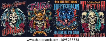 Vintage tattoo fests colorful posters with tattoo machines snake skull in samurai helmet angry black panther head girls in scary masks with angel wings and devil horns vector illustration