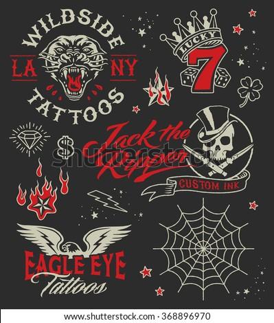Vintage tattoo parlour graphic elements set