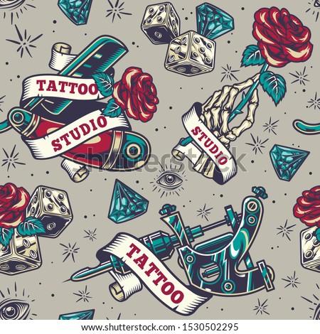 vintage tattoo seamless pattern