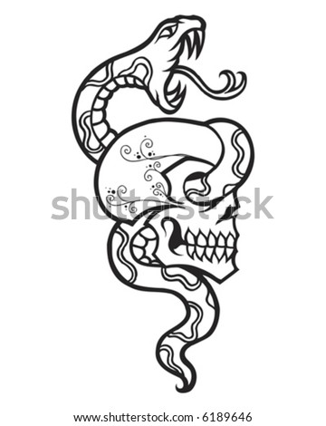 stock vector : Vintage Tattoo Snake and Skull