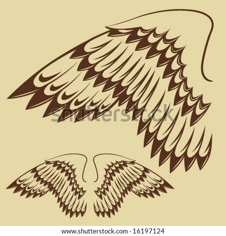 stock vector : Vintage Tattoo Wings