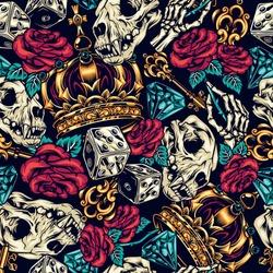 Vintage tattoos colorful seamless pattern with dice golden antique key cat skull ornate royal crown diamond skeleton hand holding rose vector illustration