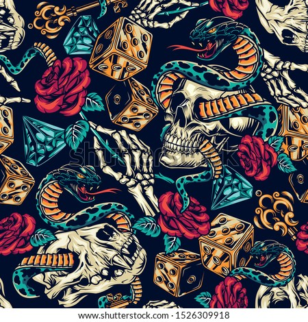 Vintage tattoos colorful seamless pattern with dice skeleton hand elegant medieval key rose flower diamond snake entwined with human and cat skulls vector illustration