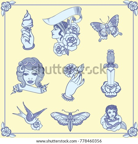 4b49f7eea Vintage tattoos in classic old school style. New traditional tattoo style.  Best of the