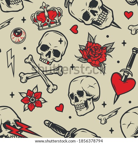 Vintage tattoos seamless pattern with skulls royal crown flowers human eye lightning crossbones heart pierced with dagger in black and red colors vector illustration Сток-фото ©