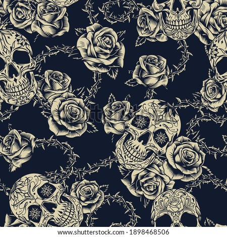 Vintage tattoos seamless pattern with sugar skulls roses barbed wire with leaves and sharp spikes vector illustration