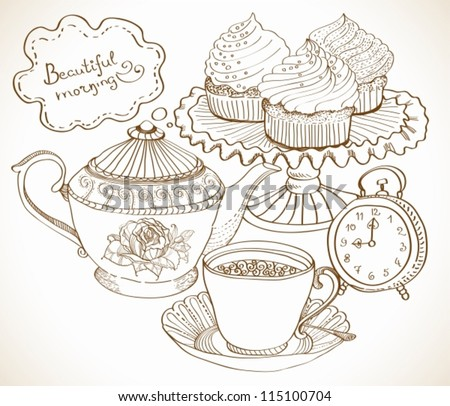 vintage tea background, hand drawn set for breakfast, vector