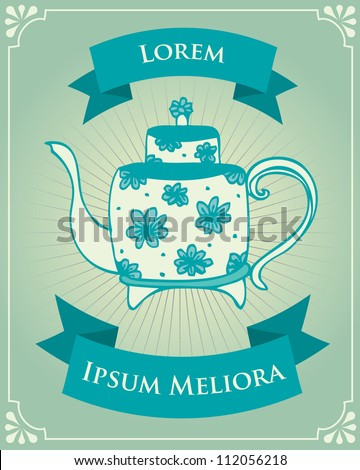 vintage tea poster template vector/illustration