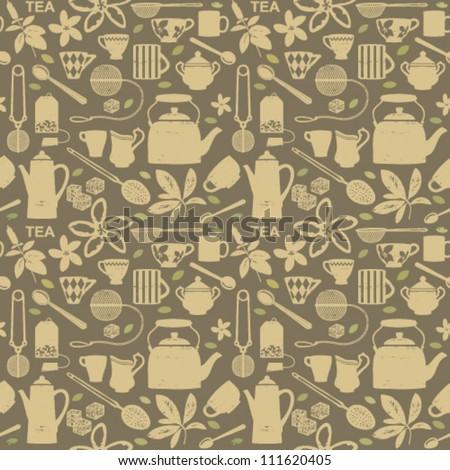 Vintage tea related seamless pattern