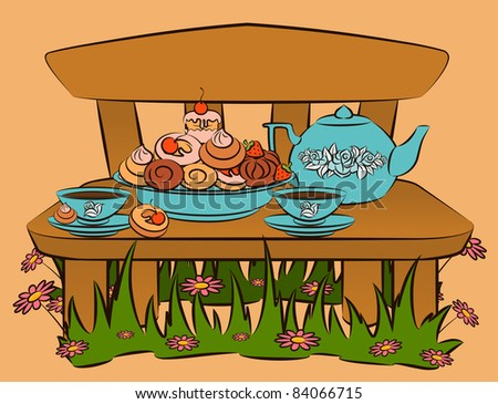 Vintage tea set and sweet cakes on bench. Vector