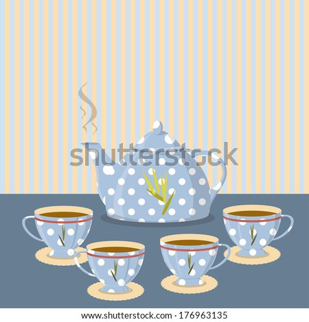 Vintage tea set on the background of the strips