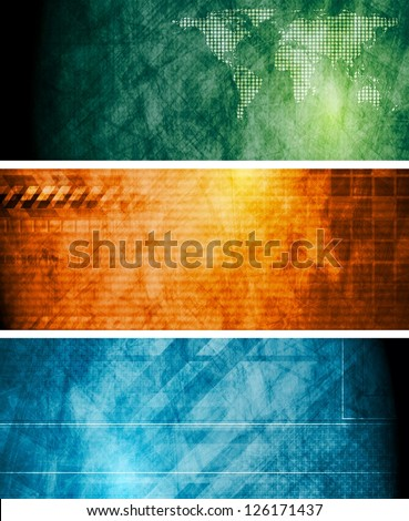 vintage technology banners eps