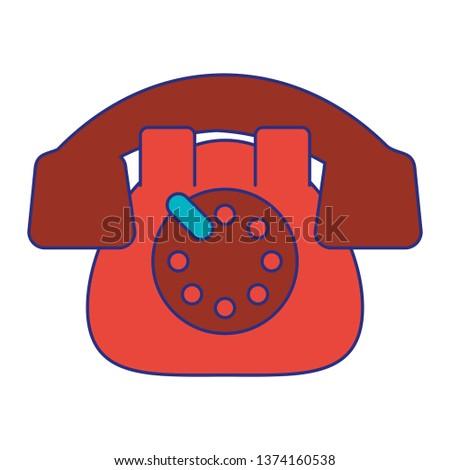 Vintage telephone communication device blue lines