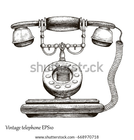 vintage telephone hand drawing...
