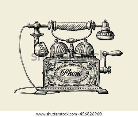 vintage telephone. hand drawn...
