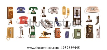 Vintage telephones and modern mobile phones set. Old antique analog devices for communication. Desktop rotary, radiophone and cellphone. Colored flat vector illustration isolated on white background Stockfoto ©